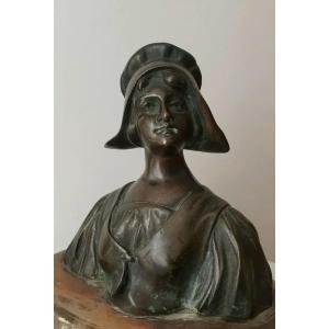 Sculpture Statue Buste Bronze Signé Alsace Bretagne Vendée Art Nouveau 1907