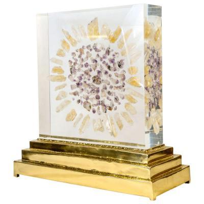 Lampe Inclusions d'Amethystes Et Cristal De Roches