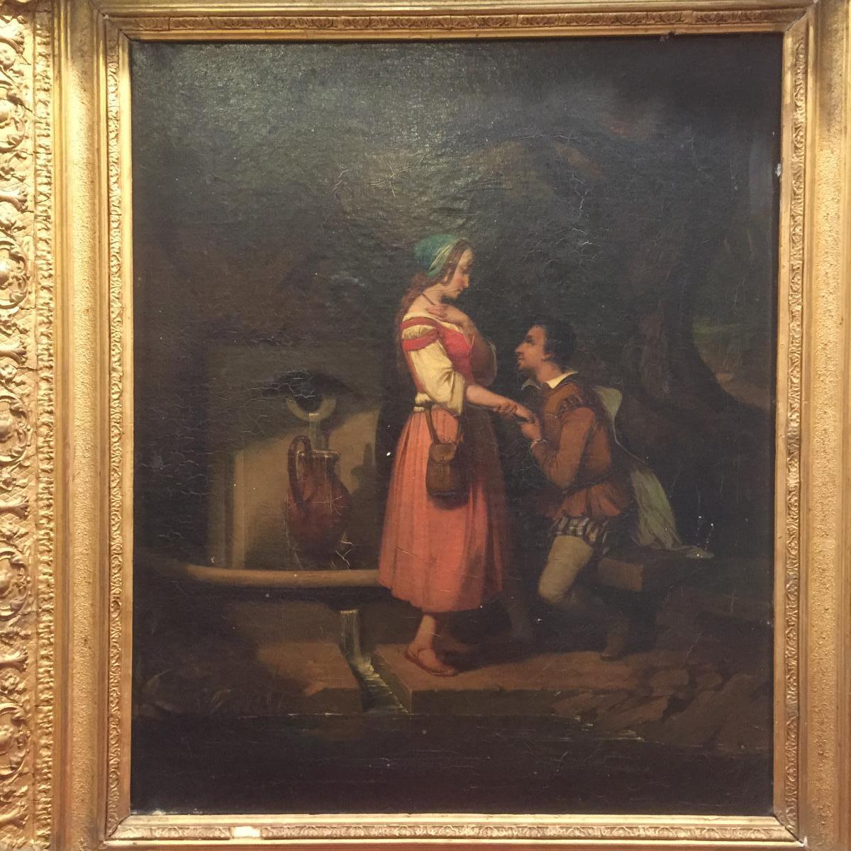 """Auguste Glaize ( 1807-1893). Huile Sur Toile. Sujet Probable: """" Rencontre De Faust Et Marguerit"""