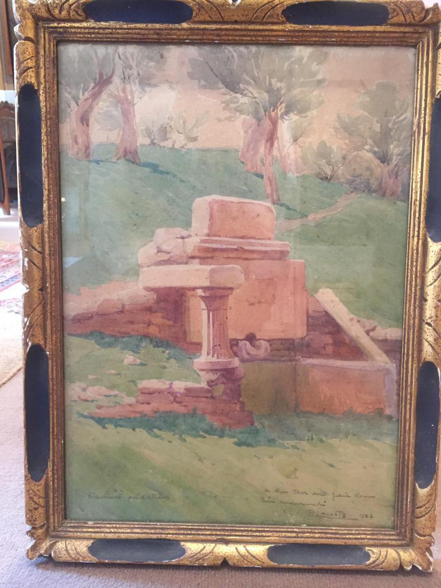 P.lacoste;aquarelle Représentant Les Ruines De Kissarianis Près d'Athènes.