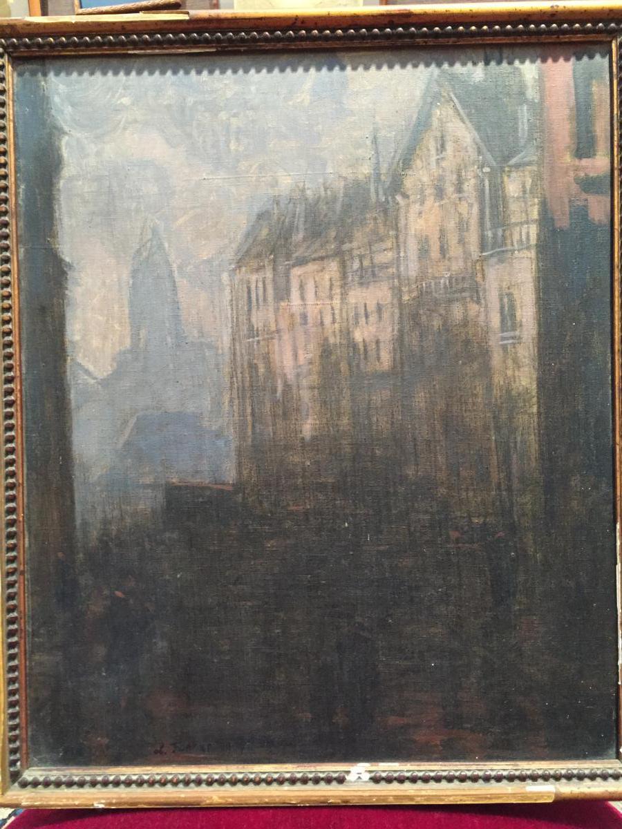 """""""ville Du Nord"""",huile Sur Toile De Léo Fontan,datée 1909"""