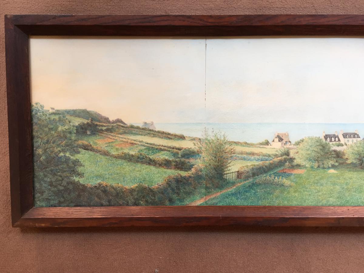 Panorama à l'Aquarelle d'Une Vue De Bretagne-photo-2