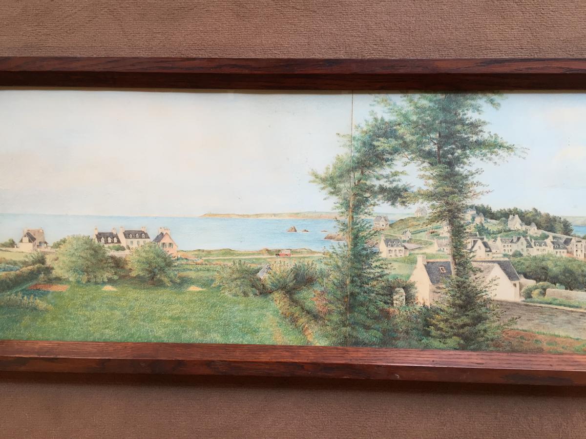Panorama à l'Aquarelle d'Une Vue De Bretagne-photo-3