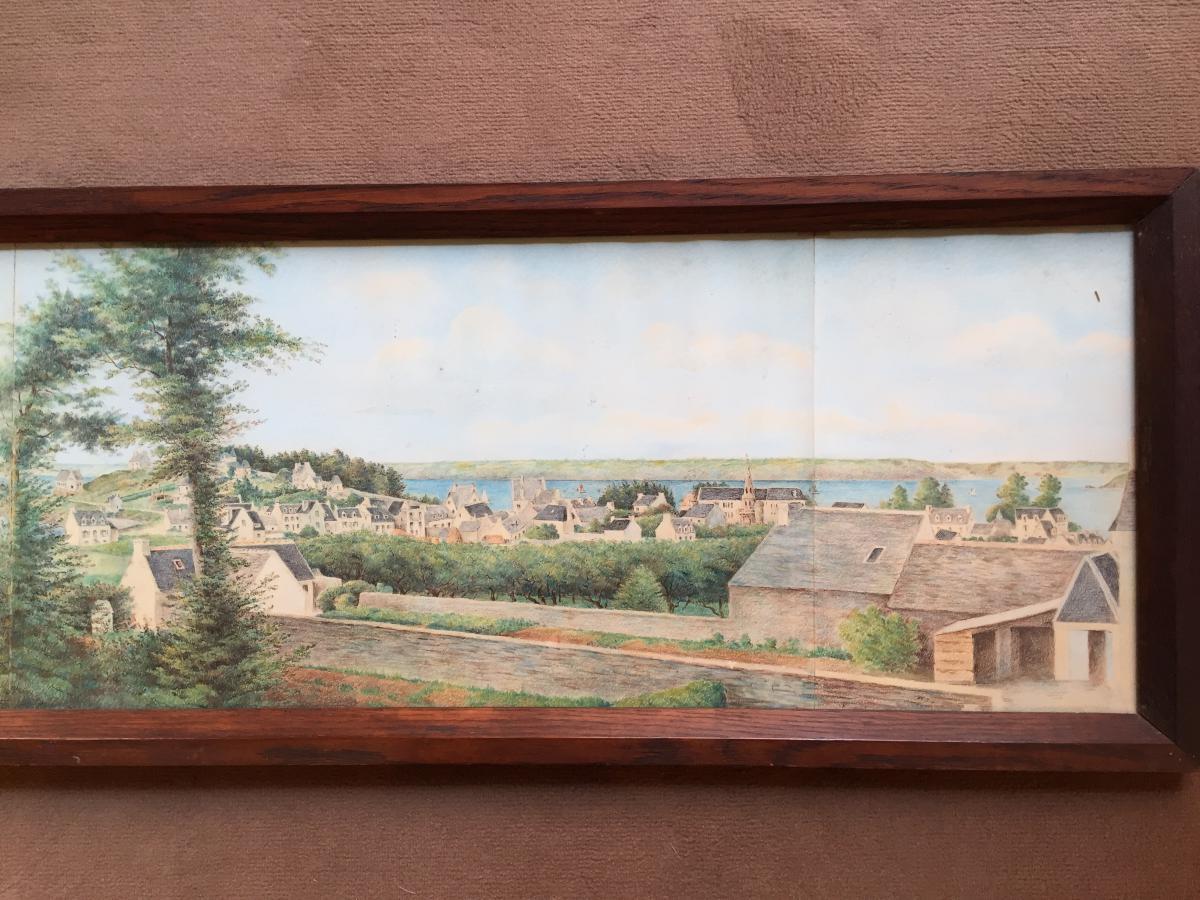 Panorama à l'Aquarelle d'Une Vue De Bretagne-photo-4