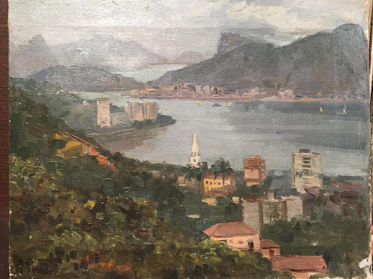Rio De Janeiro, Huile Sur Toile Des Années 40