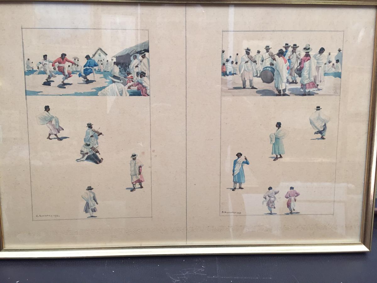 Malagasy Dances, Watercolors De A.ramanda 1933