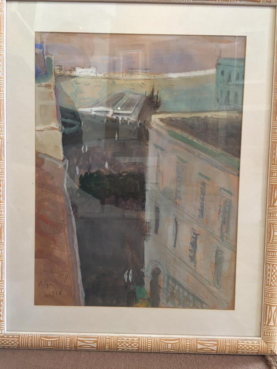 Vue d'Alger, aquarelle gouachée De Laurent Escap, 1966