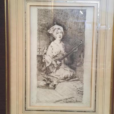 """Dessin à La Plume De Harry Humphreys Moore, """"japonaise"""",circa 1881"""