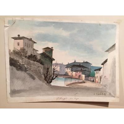 Vincenzo Bertolotti, Paire d'Aquarelles Italiennes