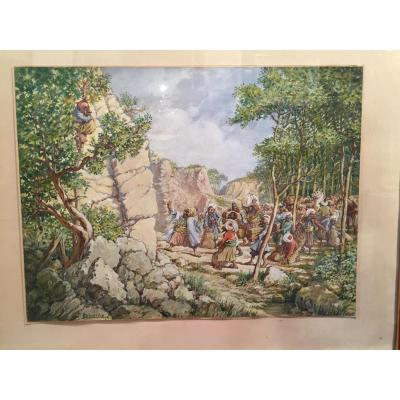 """ali Baba And The Thieves Quarantes"" Original Gouache By Pierre Laborde, Early Twentieth"