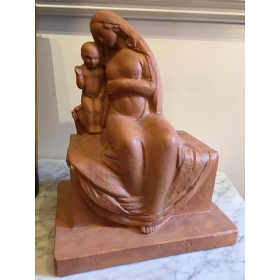 Henry Parayre, Vierge à l'Enfant, Plâtre Patiné Terre Cuite, 1926