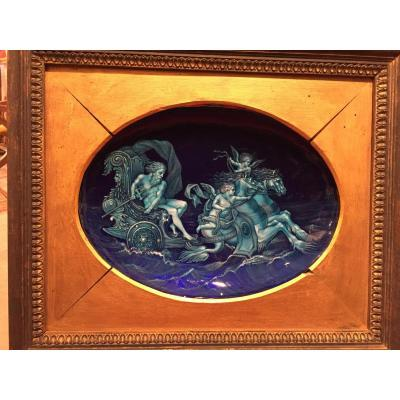 """Email Limoges, Signed Blanchez, Late Nineteenth, """"neptune Tank"""""""
