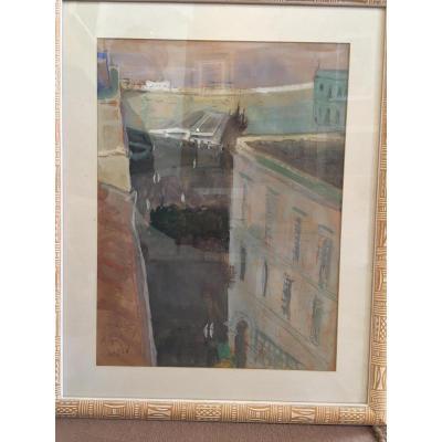 View Of Algiers, Gouache Watercolor De Laurent Escap, 1966
