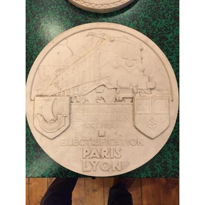 Marcel Renard (lyon 1893-1974)médaille En Platre Pour l'Inauguration d'Une Ligne Ferrovière éle