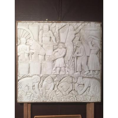 Paul Manaut (1882-1959) The Work Of The Vine. Low Relief In Plaster