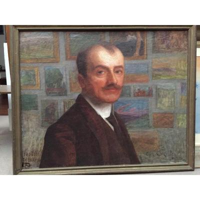Léon Paul Cazelles (1875-1942). Self-portrait At La Détrempe