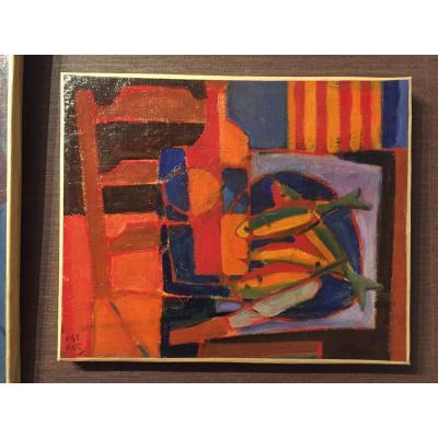 Roger Astruc 1918-2000. Still Life With Catalan Flag