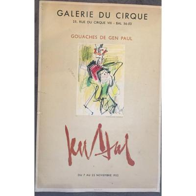 Gen Paul, Poster For The Exhibition At The Circus Gallery In 1952