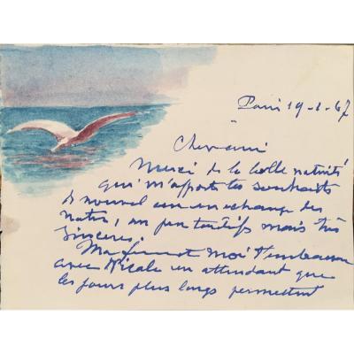 Henry De Monfreid, Carte De Voeux Autographe Avec Aquarelle