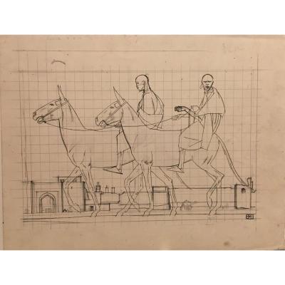 """""""Au Maroc"""" 1918, dessin par Bernard Boutet de Monvel"""