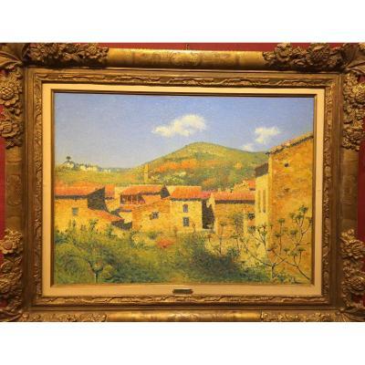 Achille Laugé 1861-1944. Vue d'Alet Les Bains, Circa 1920. Huile Sur Toile