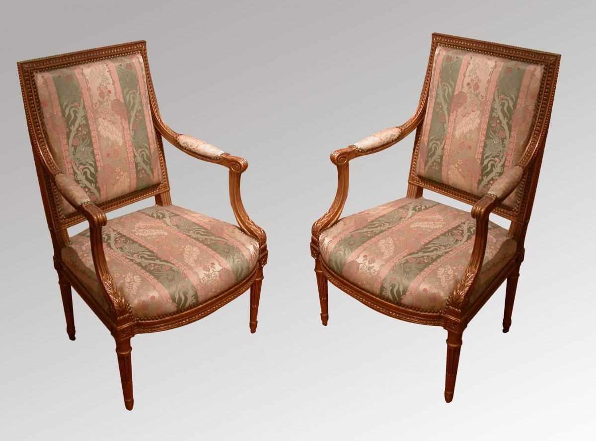 Pair Of Armchairs In Golden Wood Louis XVI Style