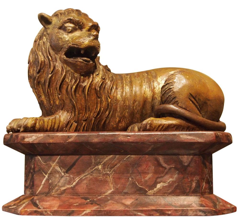 Lion En Bois, Allemagne, Fin XVIIe-début XVIIIe Siècle