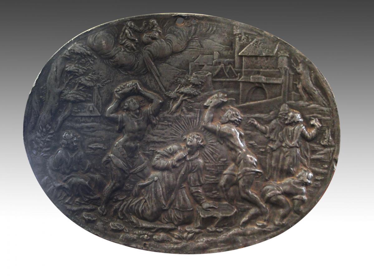 Paire de Plaques En Plomb, époque Louis XIV