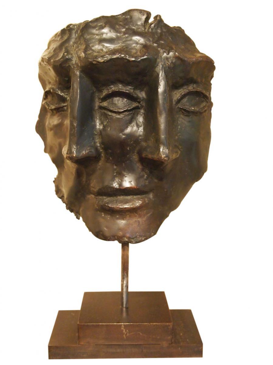 Statue Trois Têtes En Bronze