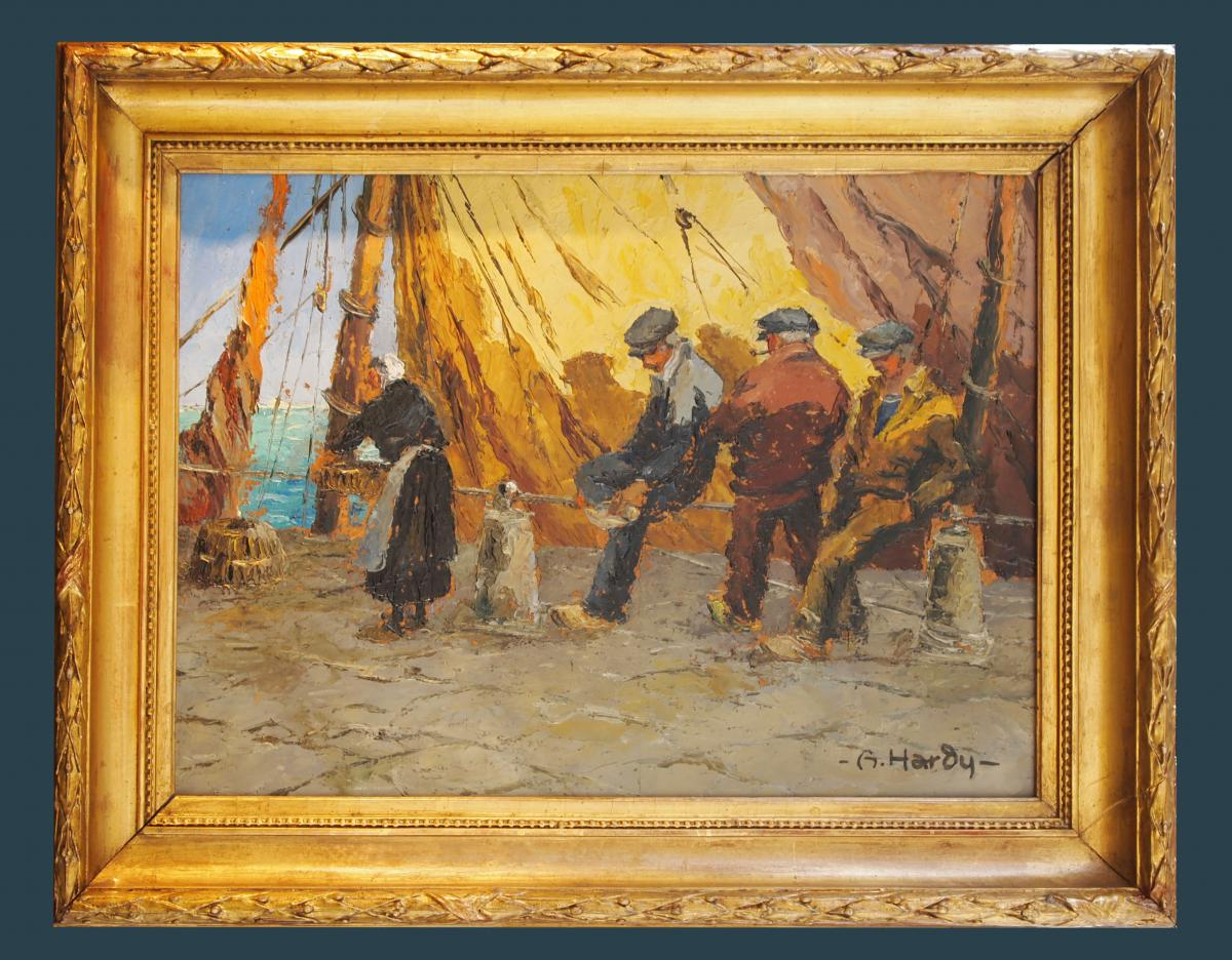 Sailors On The Docks By André Hardy