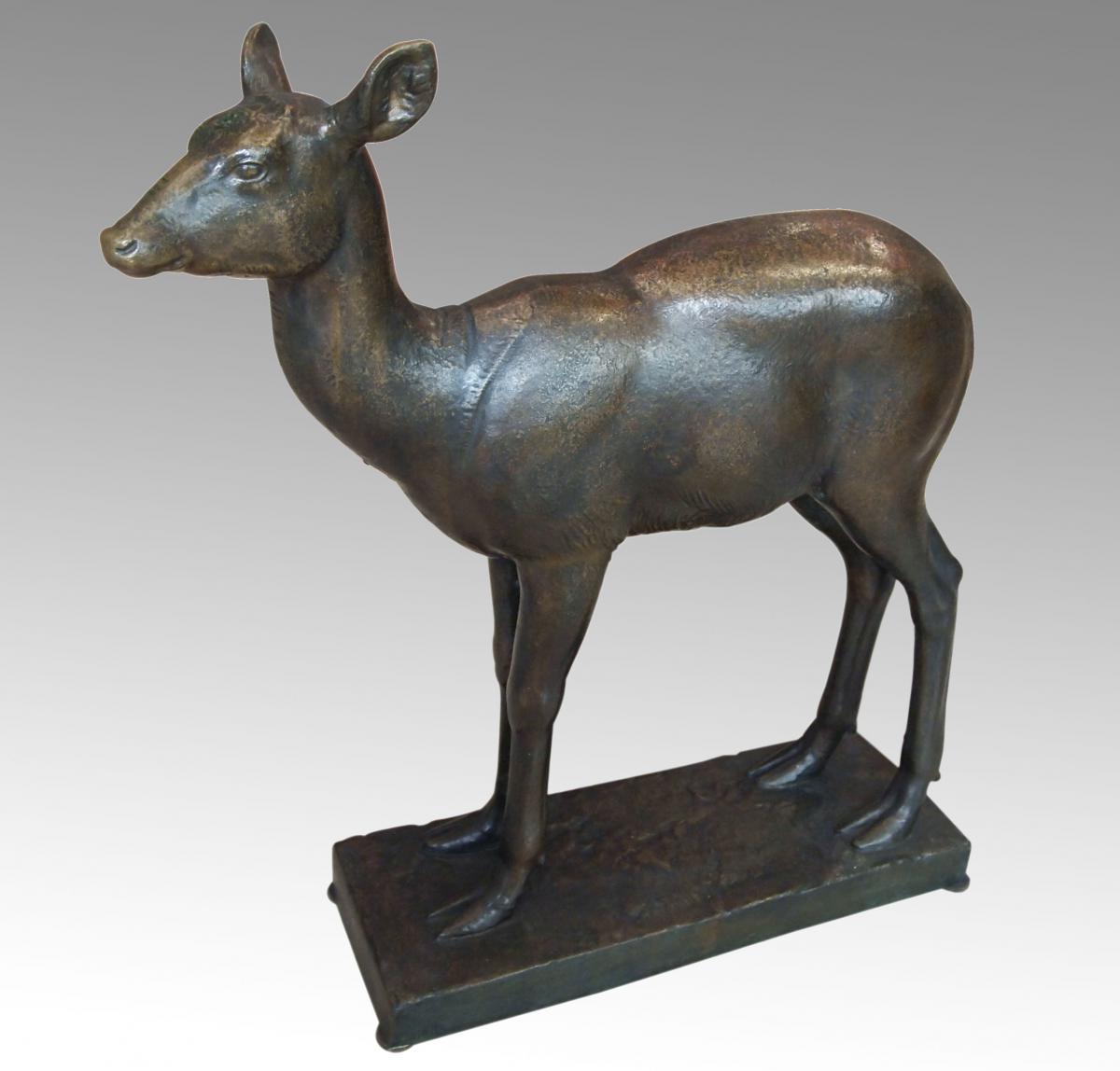Bronze Deer By Eugene Guiraud