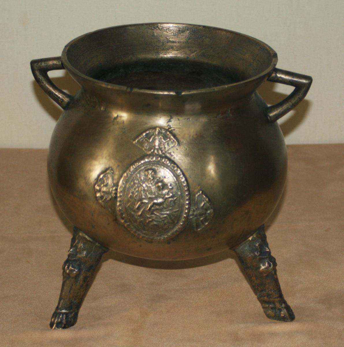 Chaudron Trois Pieds Armorié, époque 17e Siècle
