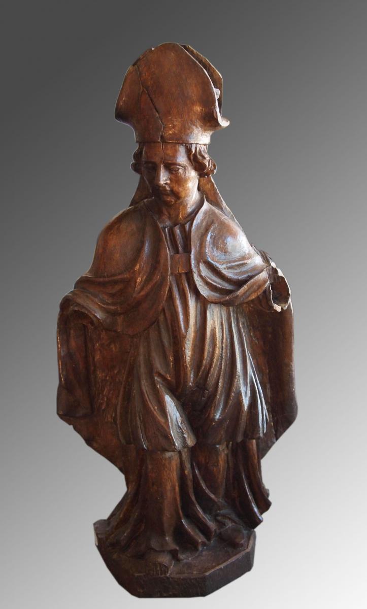 Statue évêque En Chêne, époque 17e Siècle