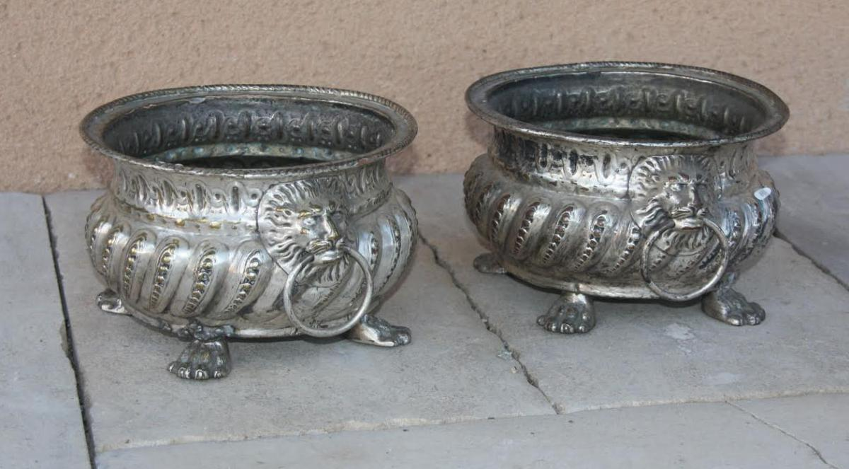 Pair Of Planters In Plated, End 18th Century