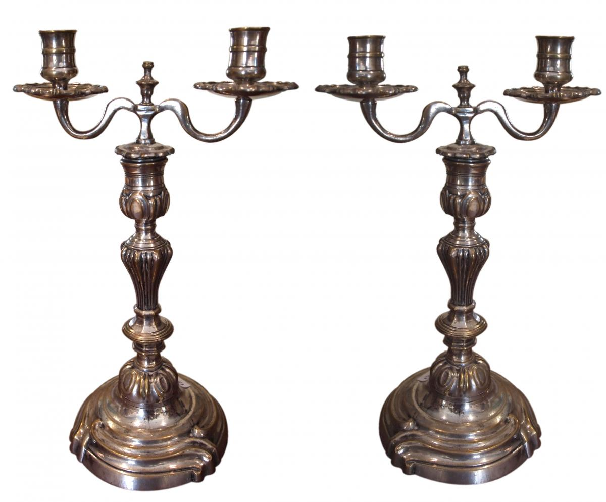 Pair Of Candlesticks With Two Branches In Plated, 18th Century