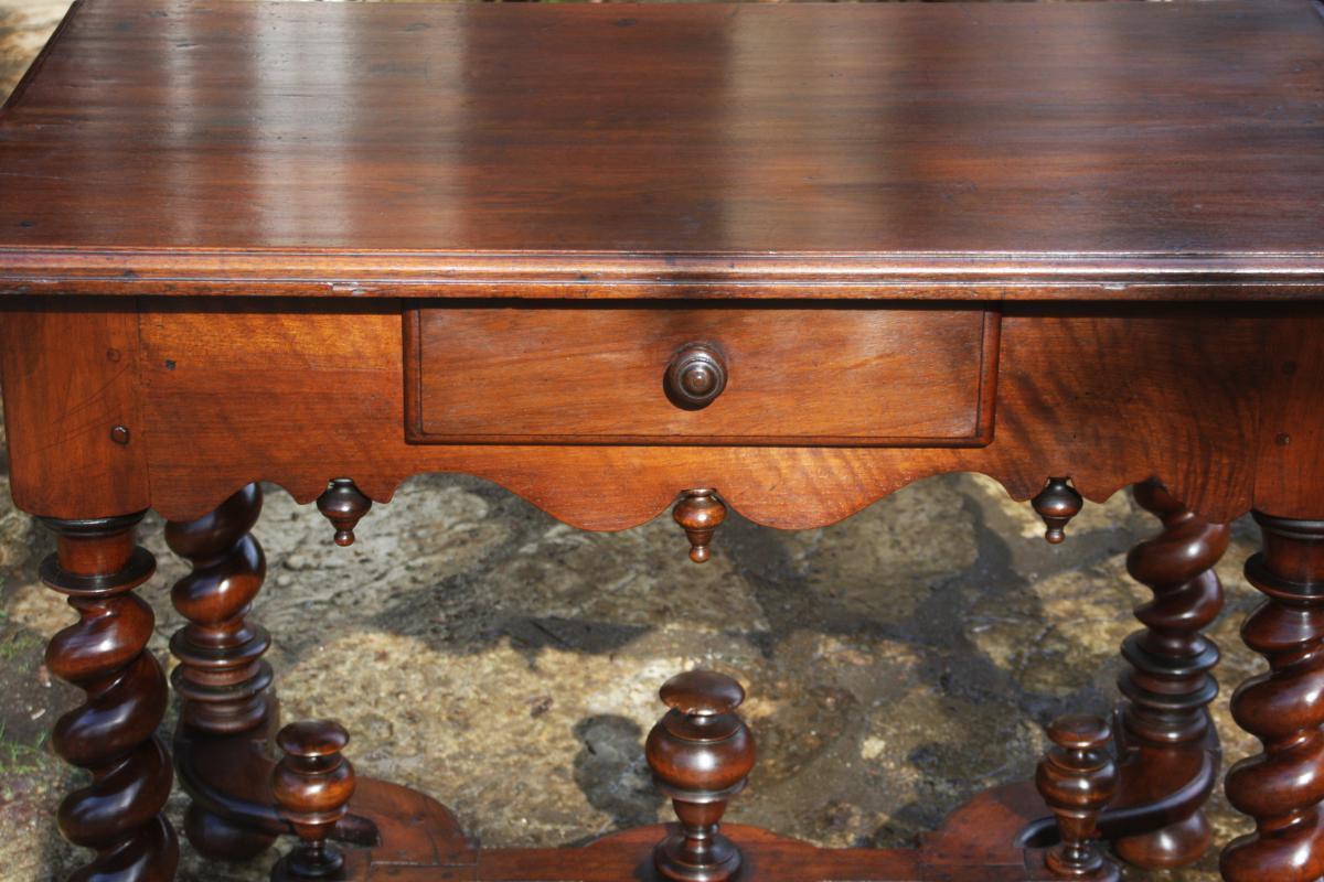 Table In Walnut Louis XIV-photo-2