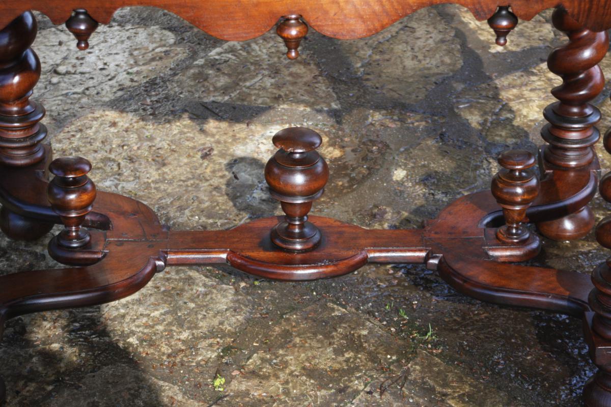 Table In Walnut Louis XIV-photo-3