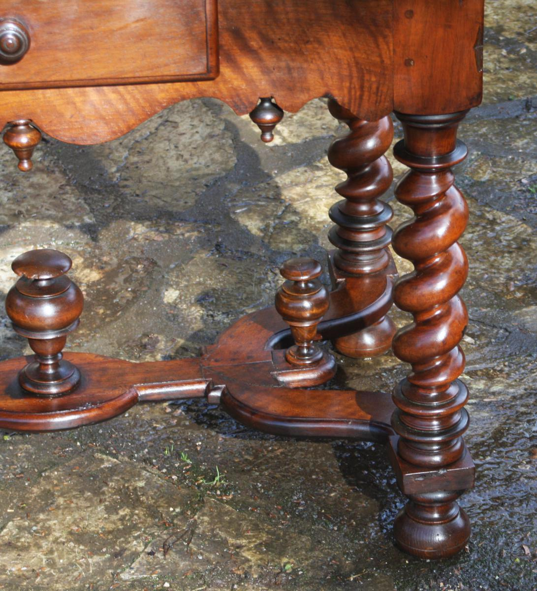 Table In Walnut Louis XIV-photo-4