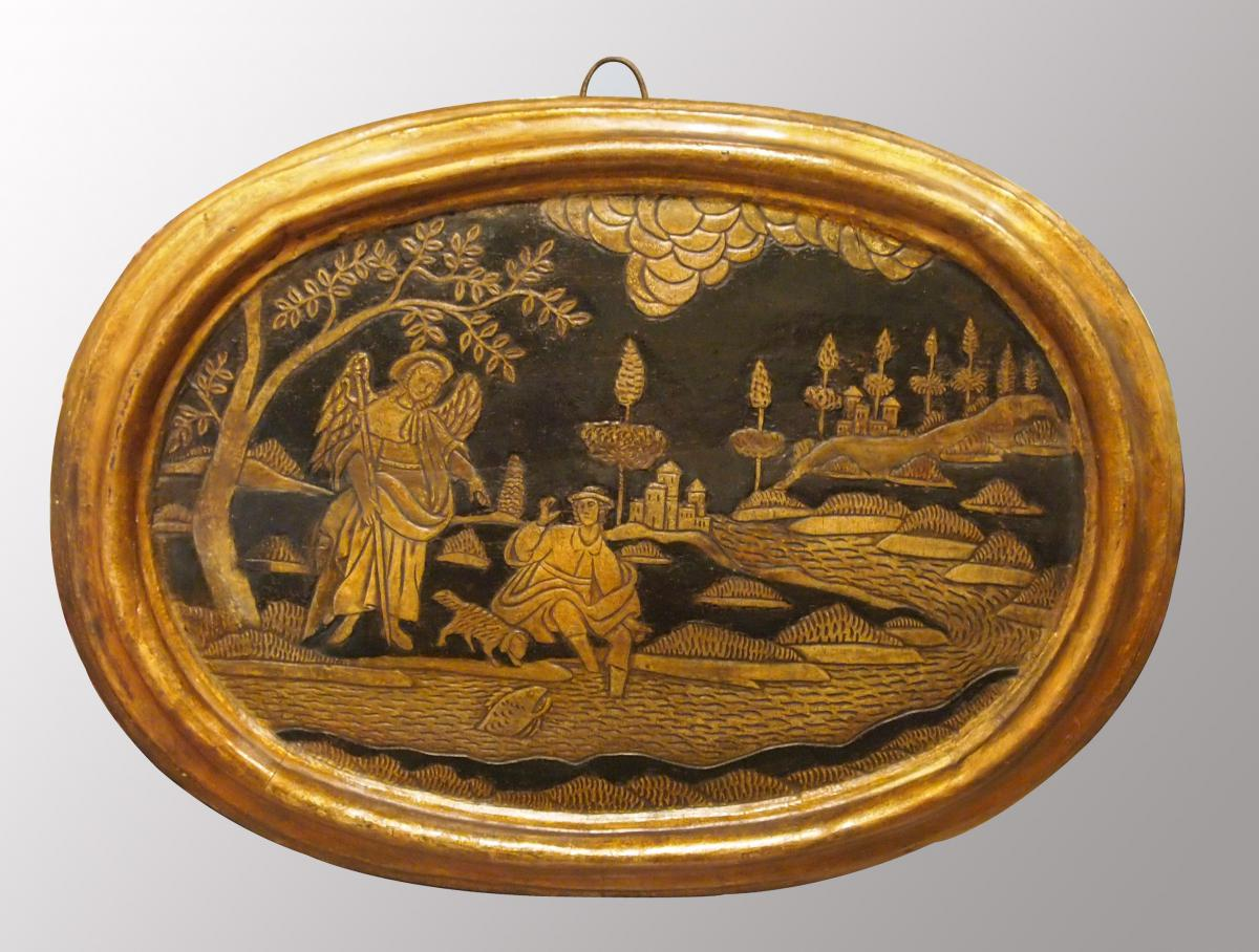 Oval Panel In Polychrome Wood: Tobias And The Angel, 18th Century