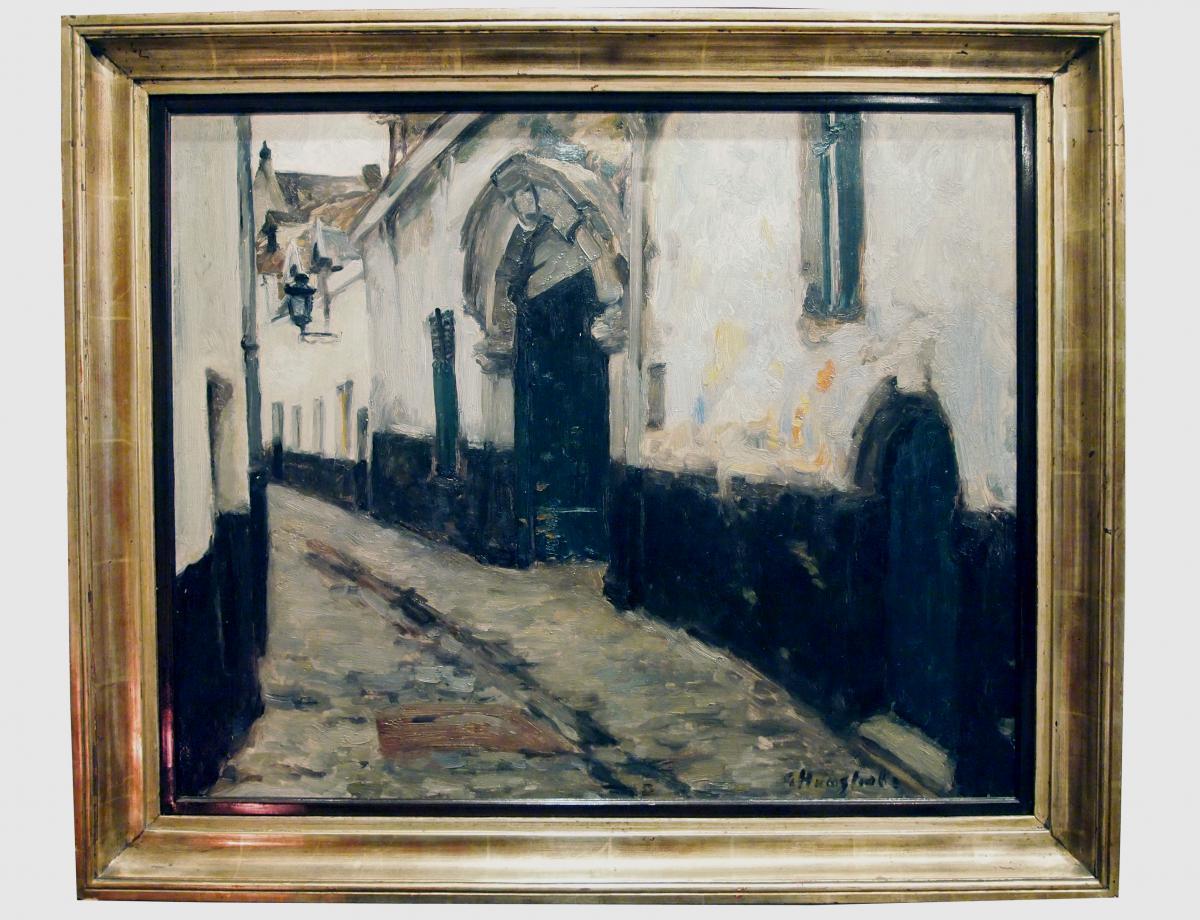 1 Huile Sur Toile, Scène De Rue, Signée Gaston Haustrate