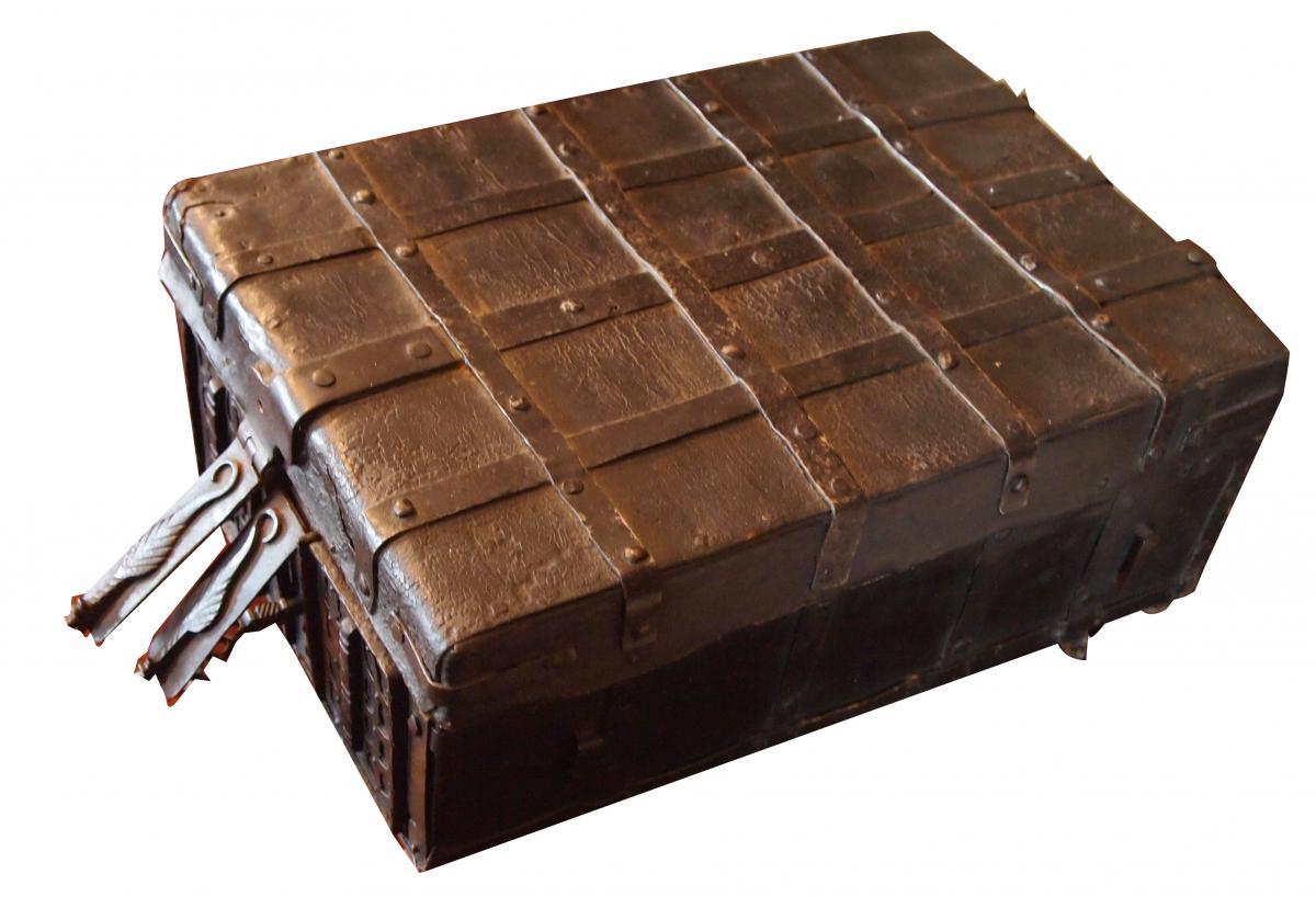Un Coffret De Messager Rectangulaire Bois cuir et fer