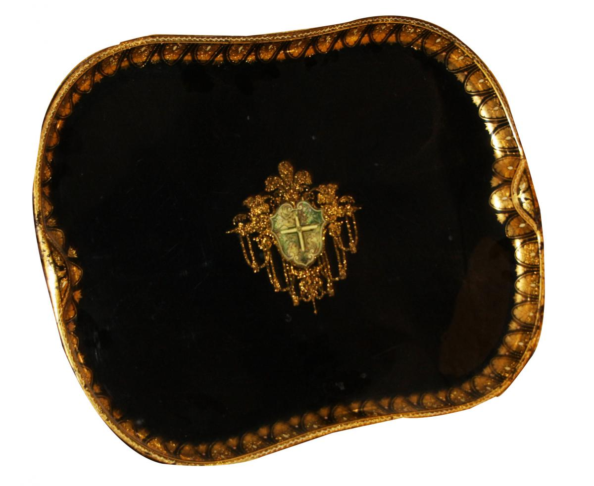 1 Plateau Noir Et Or Avec Blason époque Napoléon III