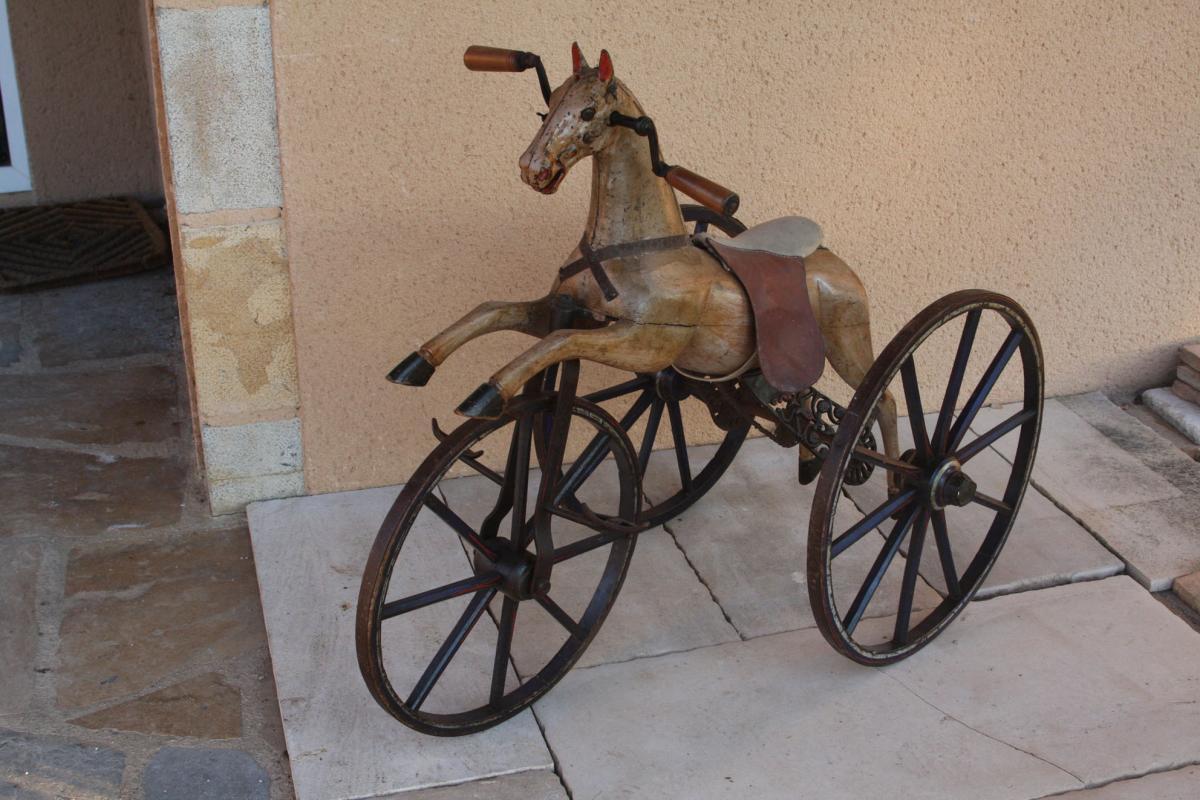 cheval tricycle en bois 19e jeux anciens. Black Bedroom Furniture Sets. Home Design Ideas