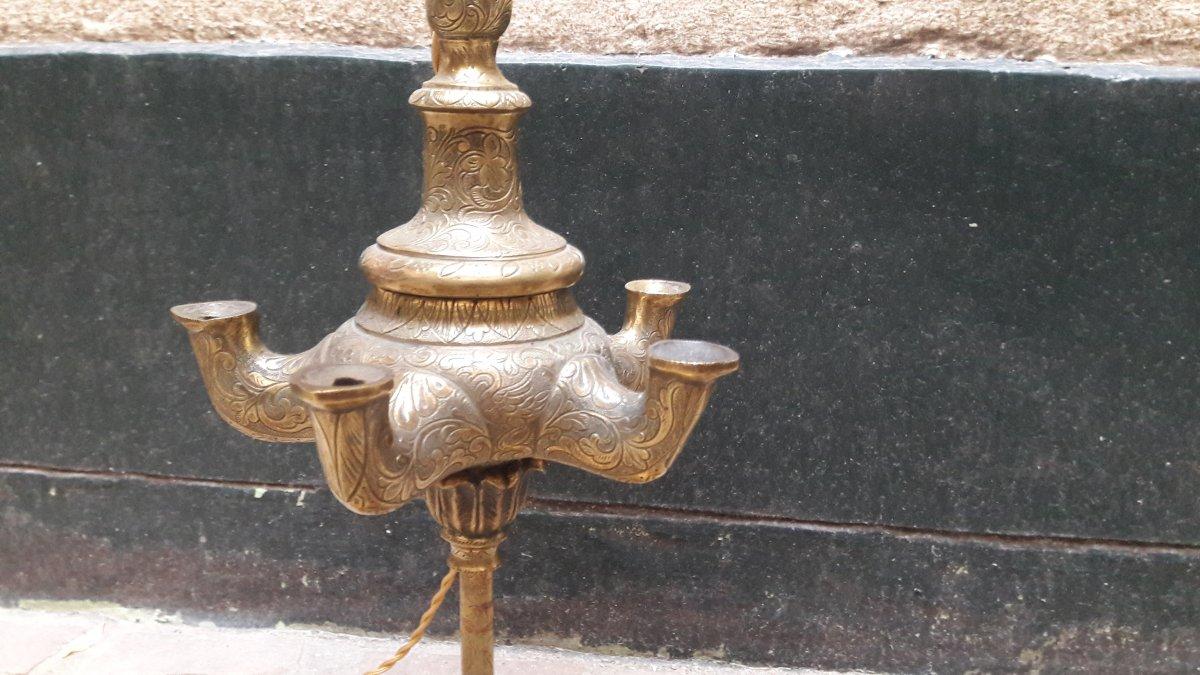 Une Paire De Lampes à Huile 19ème en bronze-photo-1