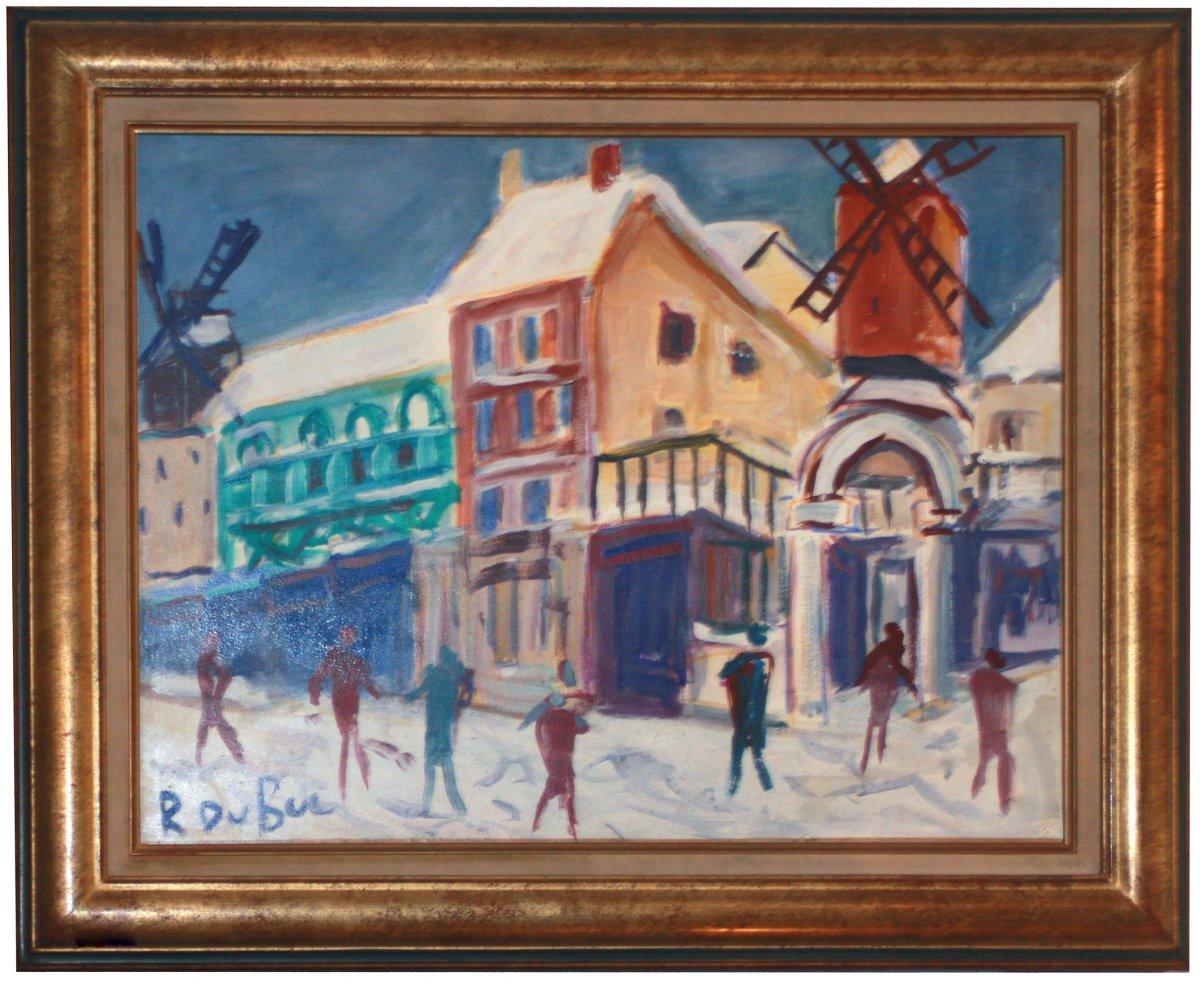 Huile Sur Toile, Le Moulin Royge Sous La Neige Par Roland Dubuc