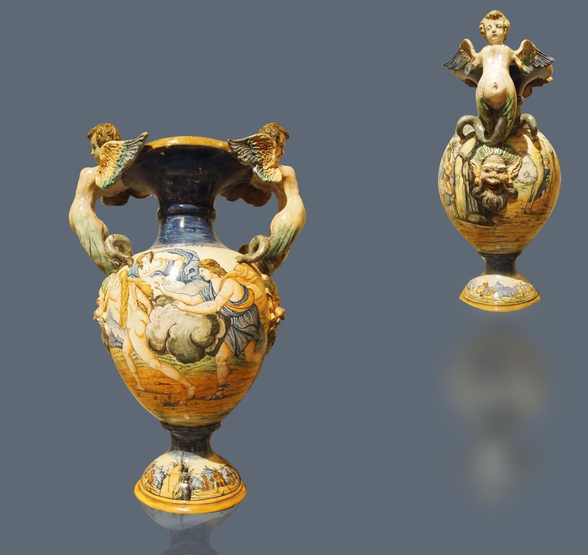 Paire De Grands Vases d'Urbino, Milieu 19e