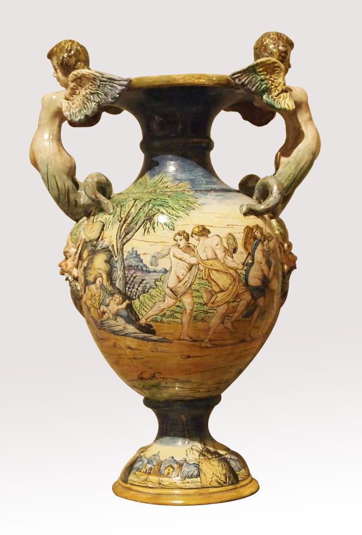 paire de grands vases d 39 urbino milieu 19e objets d coratifs vases en fa ence ancienne. Black Bedroom Furniture Sets. Home Design Ideas