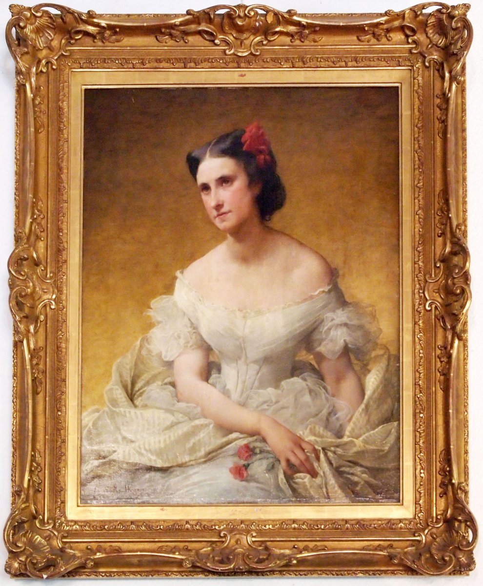 Une Huile Sur Toile , Portraot De Femme Par Adélaïde Salles-wagner