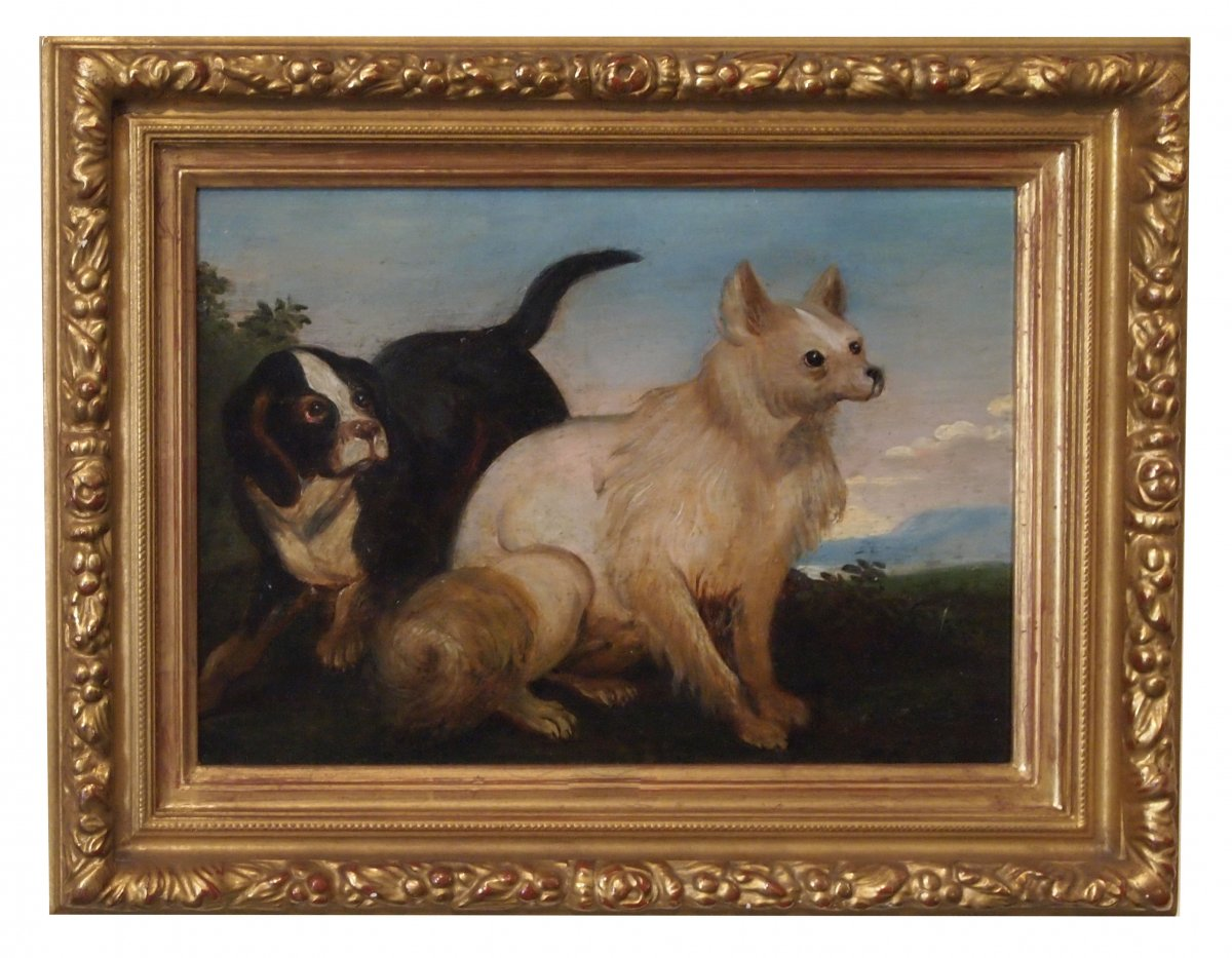 An Oil On Panel, Dogs In A Landscape