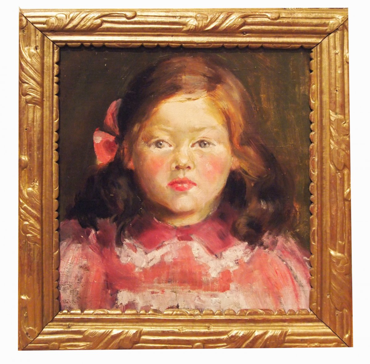 An Oil On Cardboard, Little Girl, With English Label On The Back